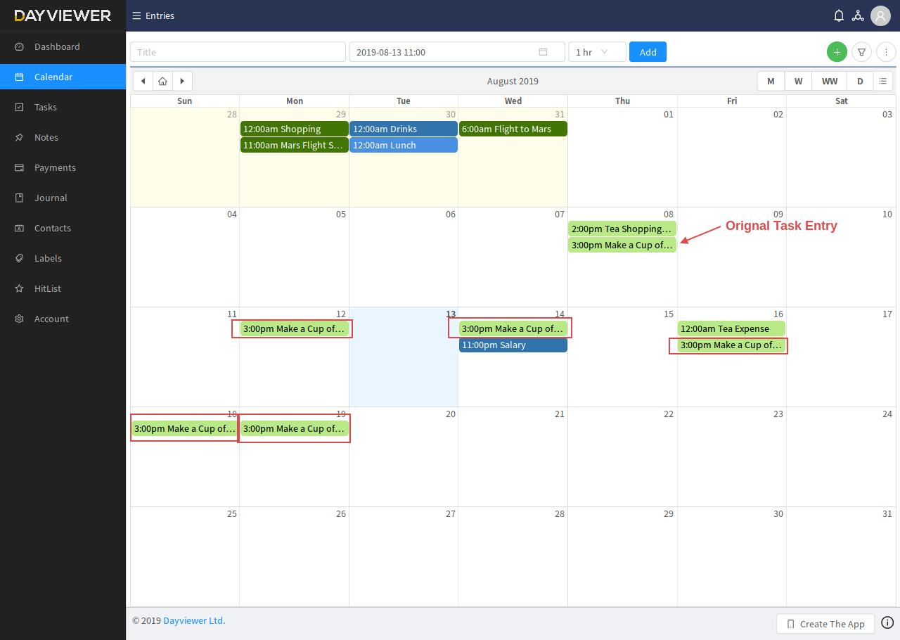 Recur entries on calendar